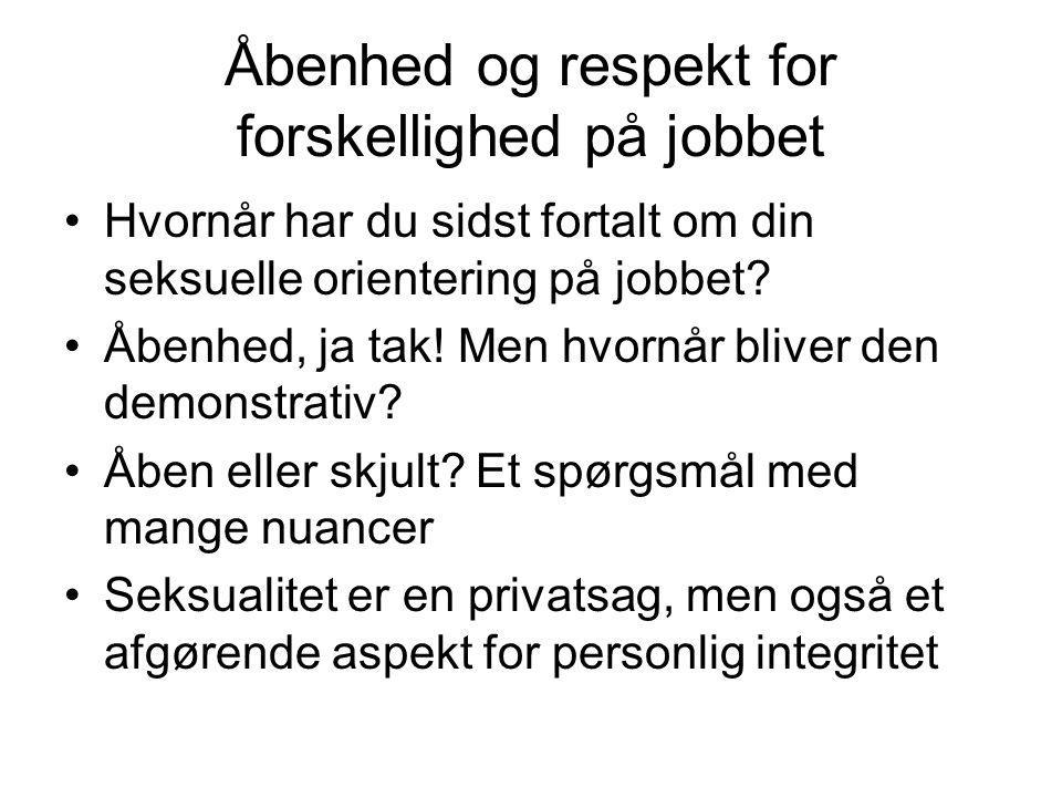 Åbenhed og respekt for forskellighed på jobbet