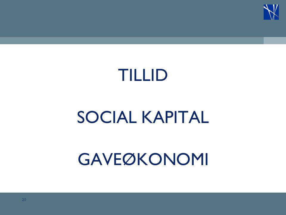 TILLID SOCIAL KAPITAL GAVEØKONOMI