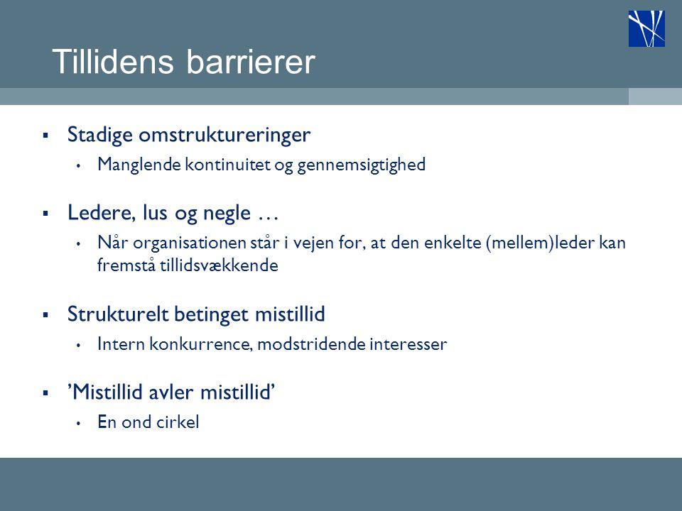 Tillidens barrierer Stadige omstruktureringer Ledere, lus og negle …