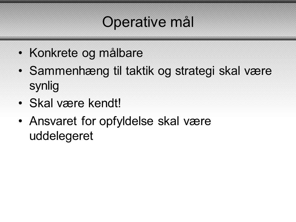 Operative mål Konkrete og målbare