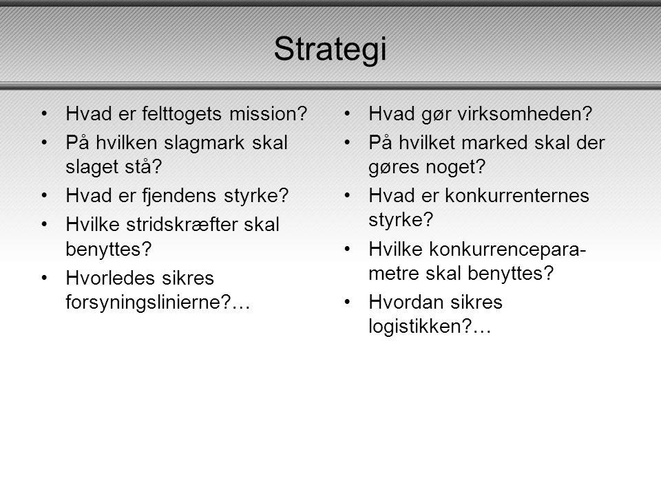 Strategi Hvad er felttogets mission
