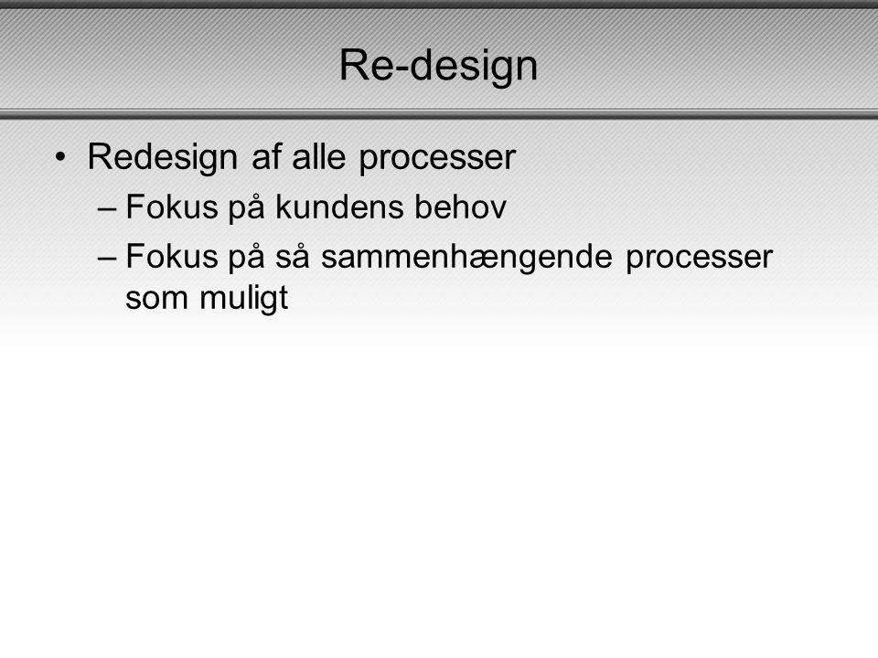 Re-design Redesign af alle processer Fokus på kundens behov