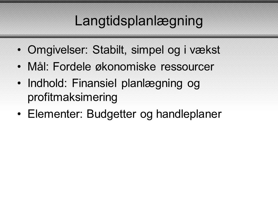 Langtidsplanlægning Omgivelser: Stabilt, simpel og i vækst