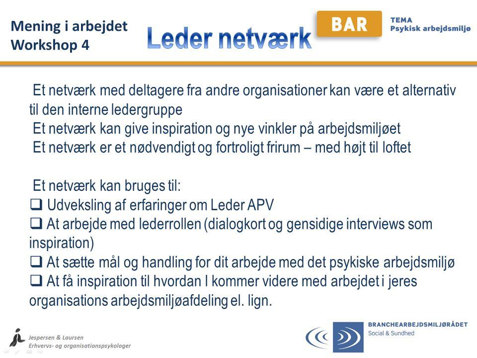 Leder netværk Mening i arbejdet Workshop 4