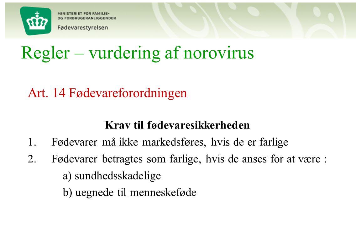Regler – vurdering af norovirus