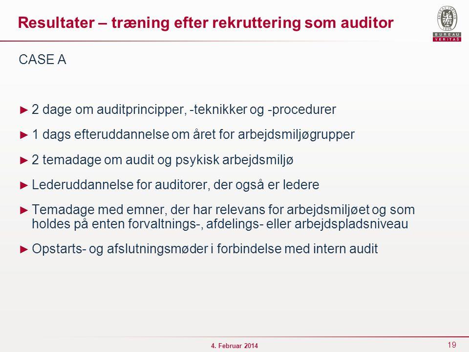 Resultater – træning efter rekruttering som auditor