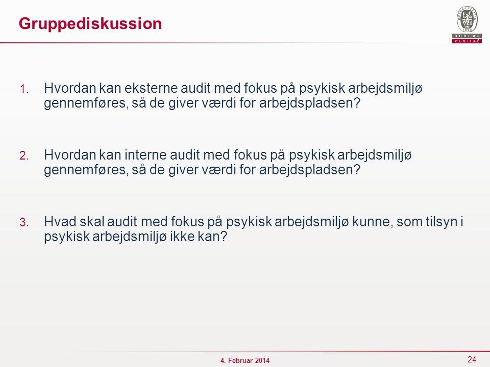 Gruppediskussion Hvordan kan eksterne audit med fokus på psykisk arbejdsmiljø gennemføres, så de giver værdi for arbejdspladsen