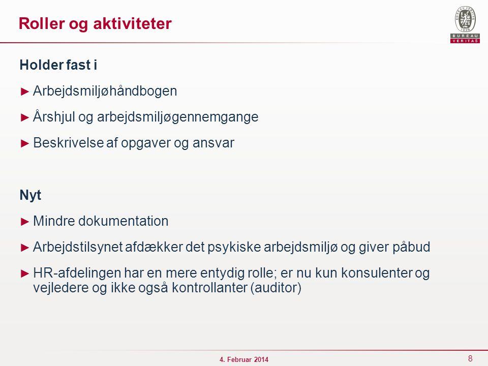 Roller og aktiviteter Holder fast i Arbejdsmiljøhåndbogen