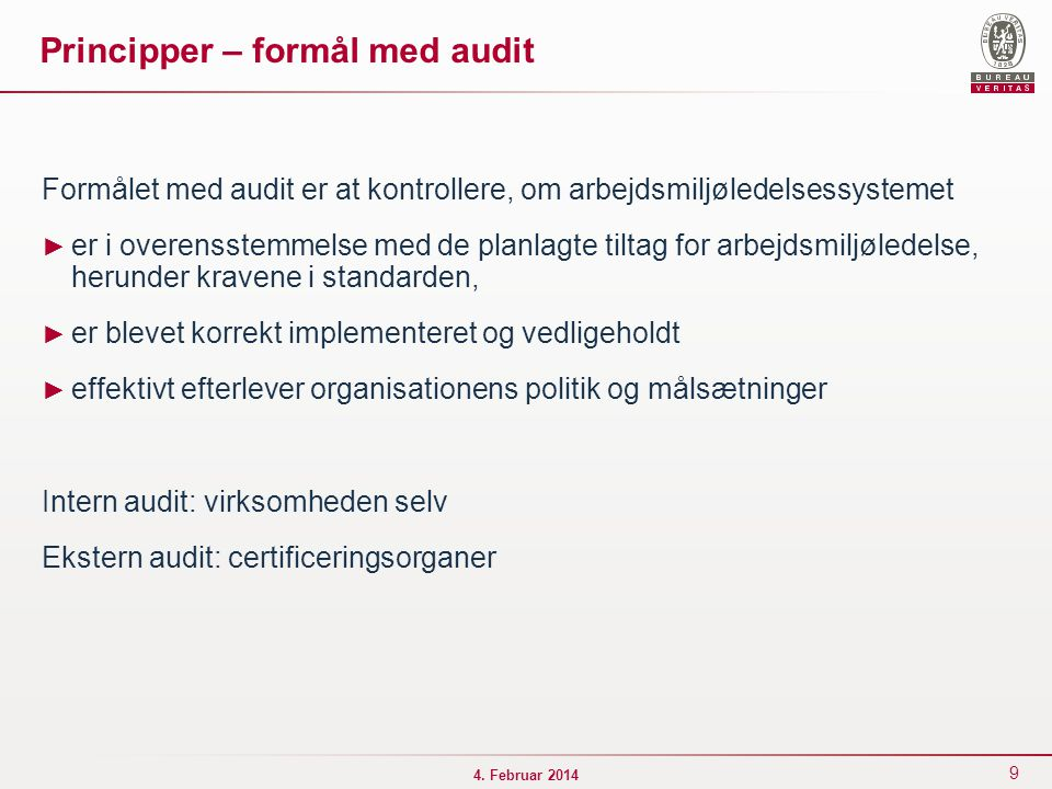 Principper – formål med audit