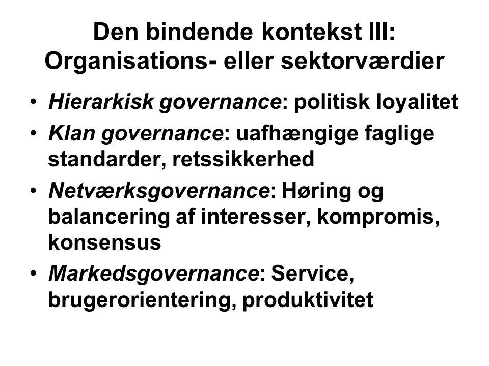 Den bindende kontekst III: Organisations- eller sektorværdier