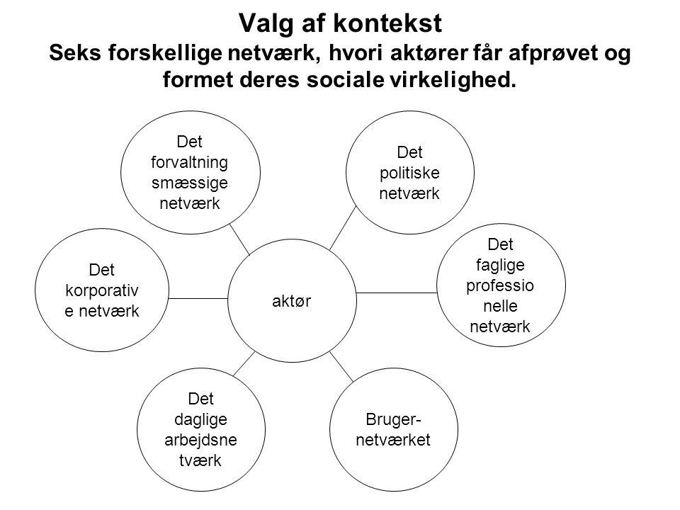 Valg af kontekst Seks forskellige netværk, hvori aktører får afprøvet og formet deres sociale virkelighed.