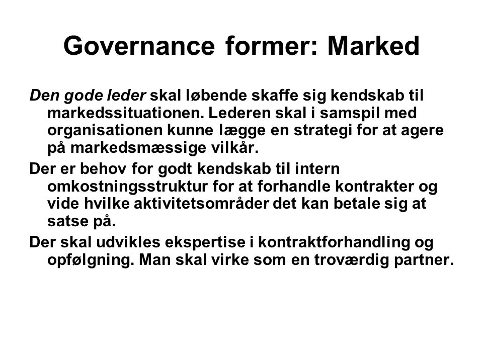 Governance former: Marked