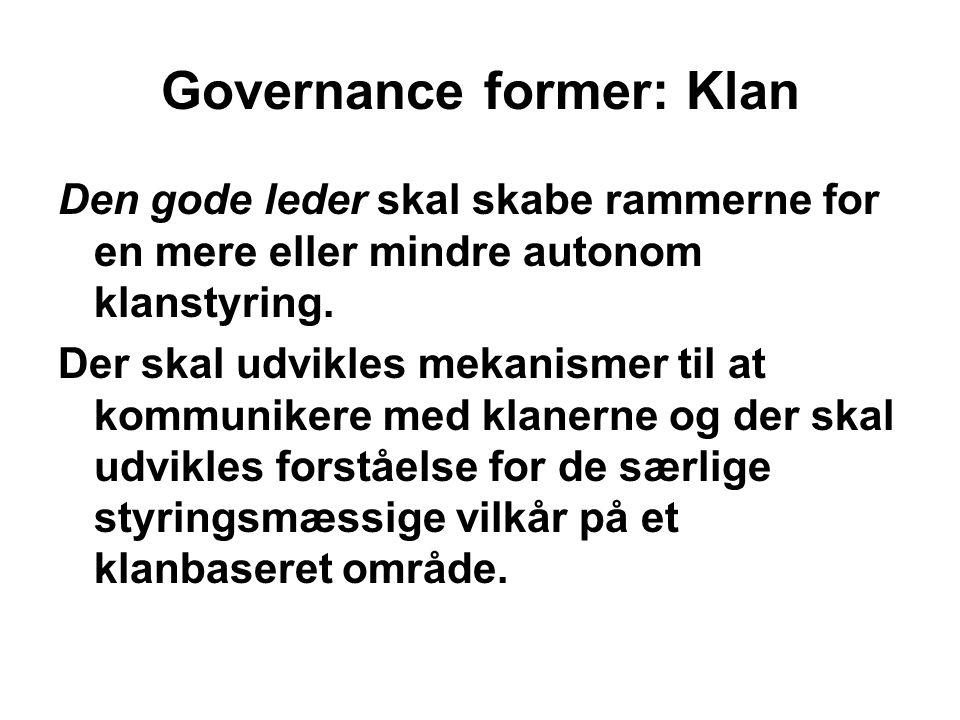 Governance former: Klan