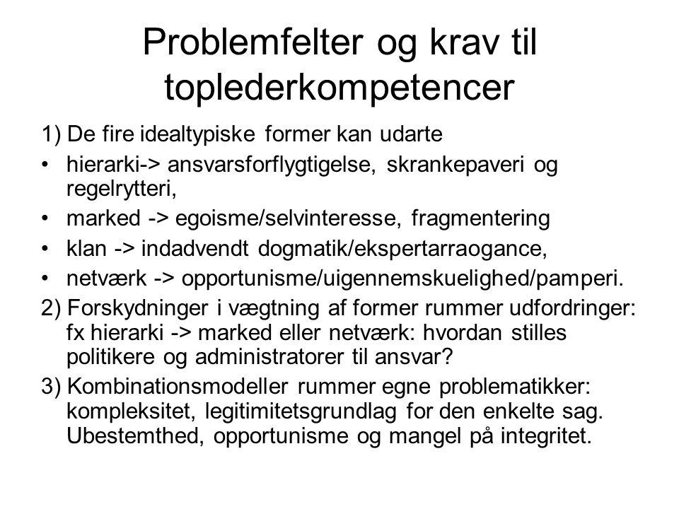 Problemfelter og krav til toplederkompetencer