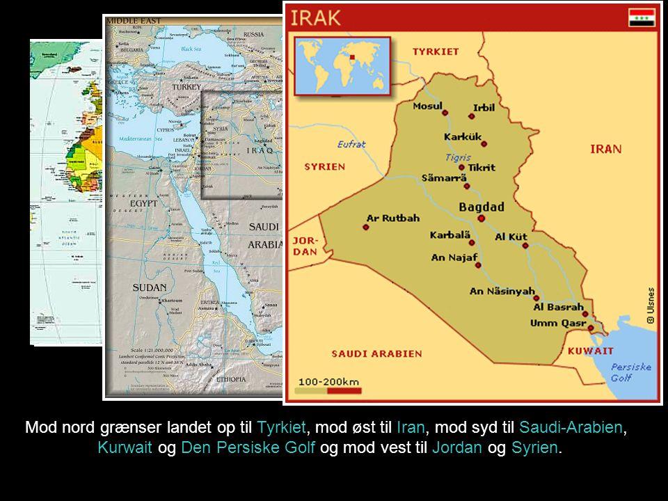 Kurwait og Den Persiske Golf og mod vest til Jordan og Syrien.