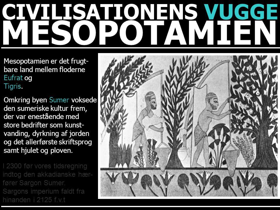 MESOPOTAMIEN CIVILISATIONENS VUGGE Mesopotamien er det frugt-