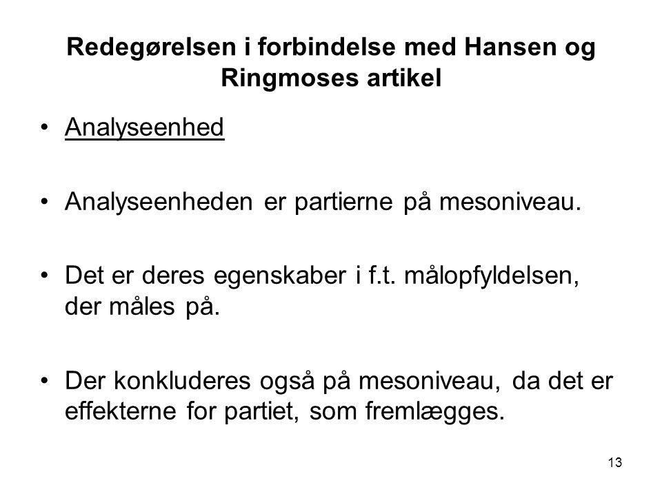 Redegørelsen i forbindelse med Hansen og Ringmoses artikel