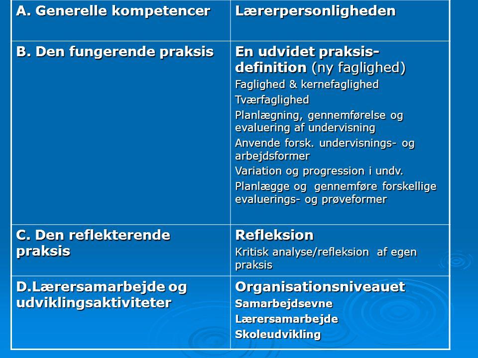 A. Generelle kompetencer Lærerpersonligheden