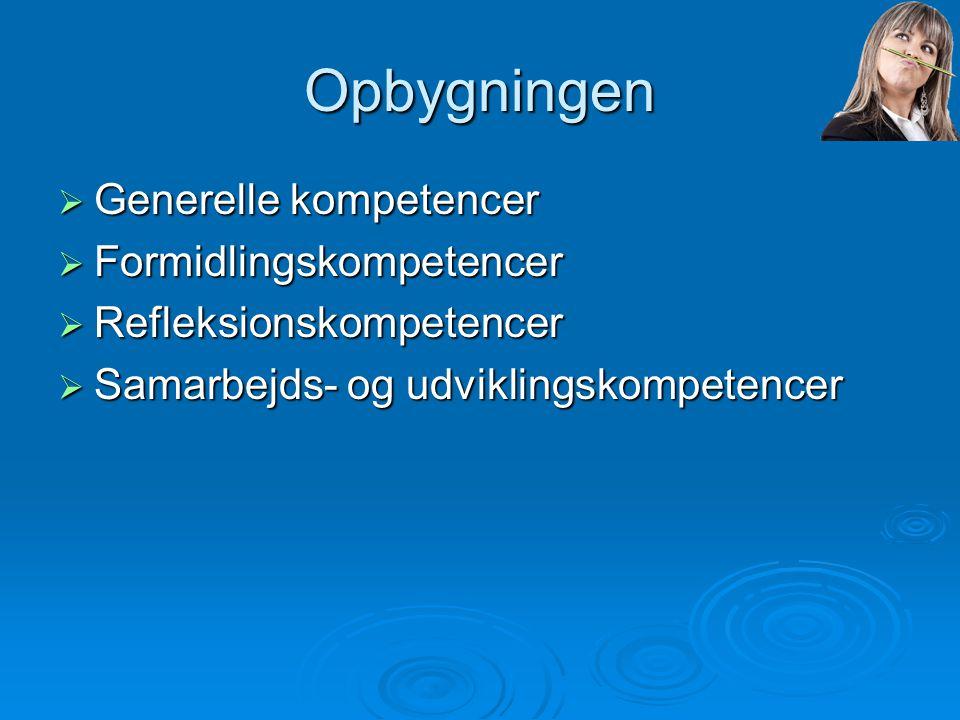 Opbygningen Generelle kompetencer Formidlingskompetencer