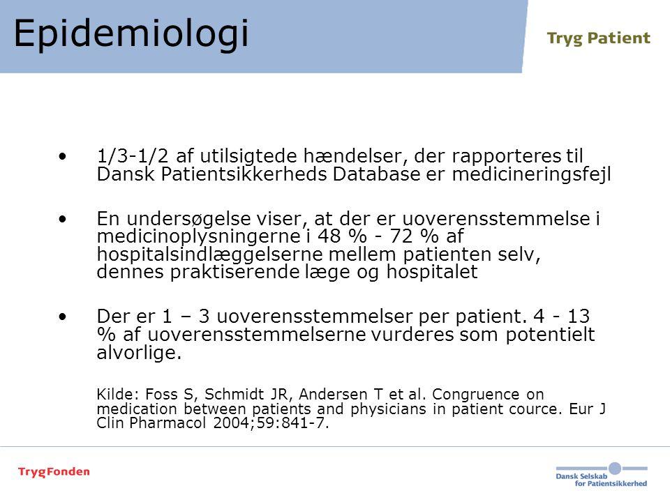 Epidemiologi 1/3-1/2 af utilsigtede hændelser, der rapporteres til Dansk Patientsikkerheds Database er medicineringsfejl.