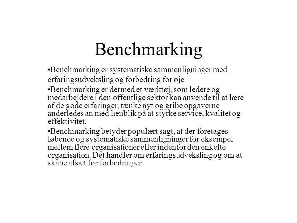 Benchmarking Benchmarking er systematiske sammenligninger med