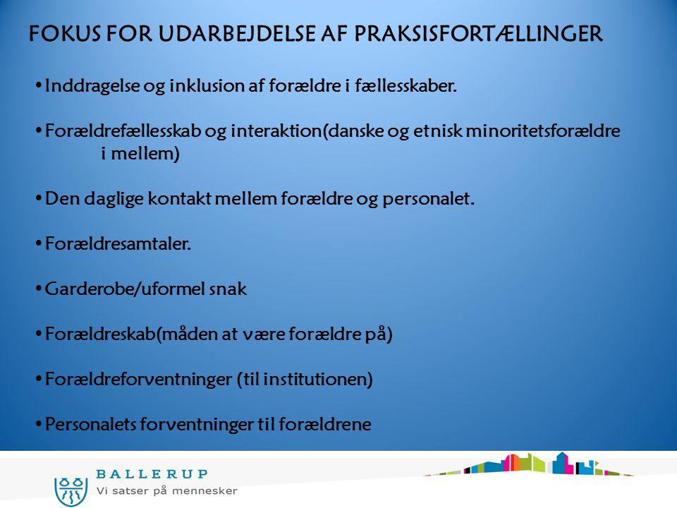 FOKUS FOR UDARBEJDELSE AF PRAKSISFORTÆLLINGER