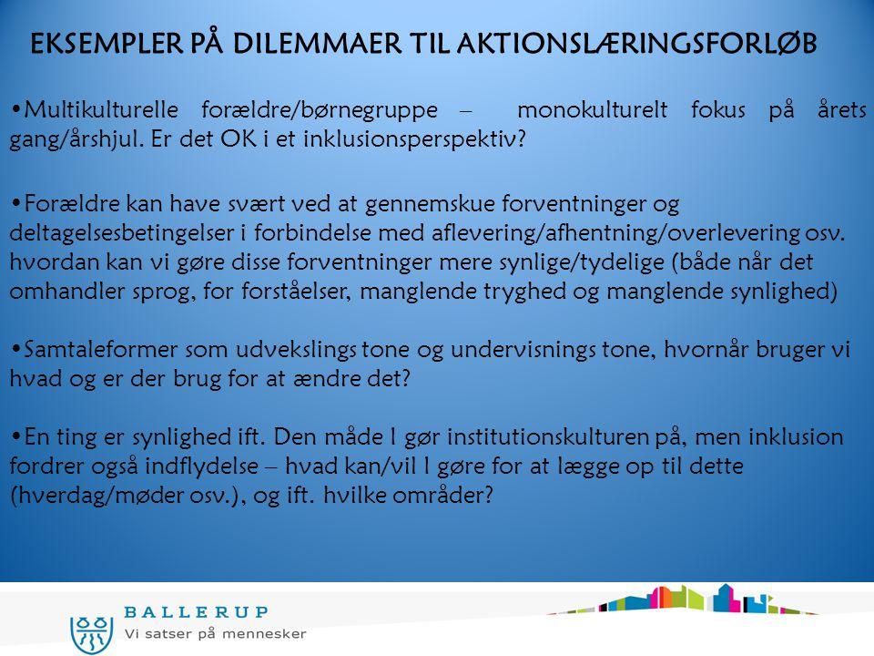 EKSEMPLER PÅ DILEMMAER TIL AKTIONSLÆRINGSFORLØB