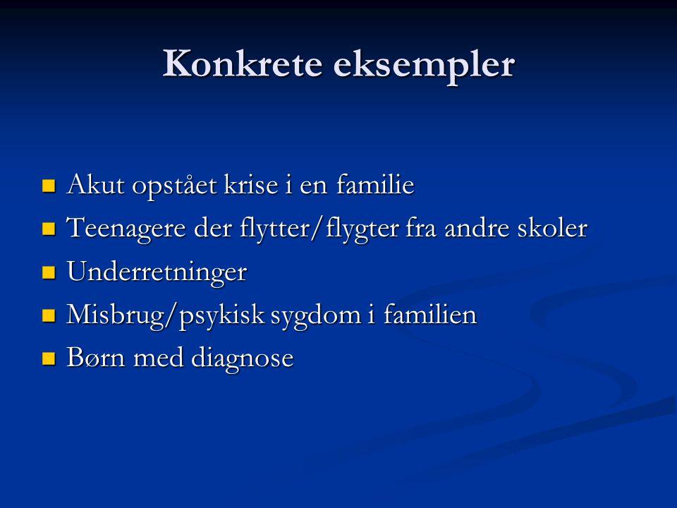 Konkrete eksempler Akut opstået krise i en familie