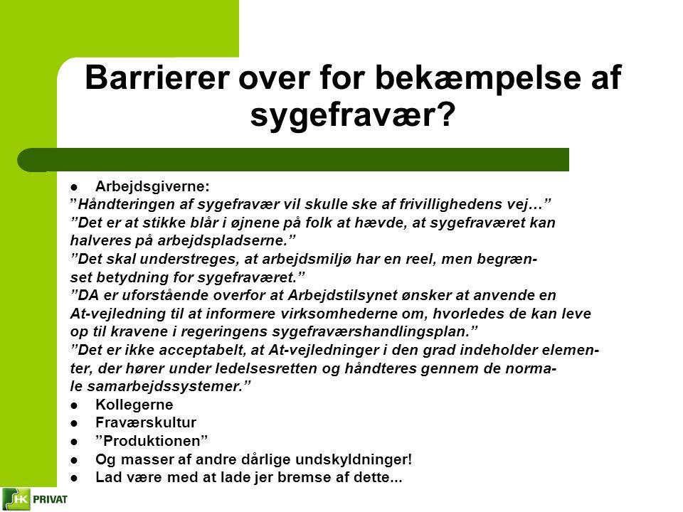 Barrierer over for bekæmpelse af sygefravær