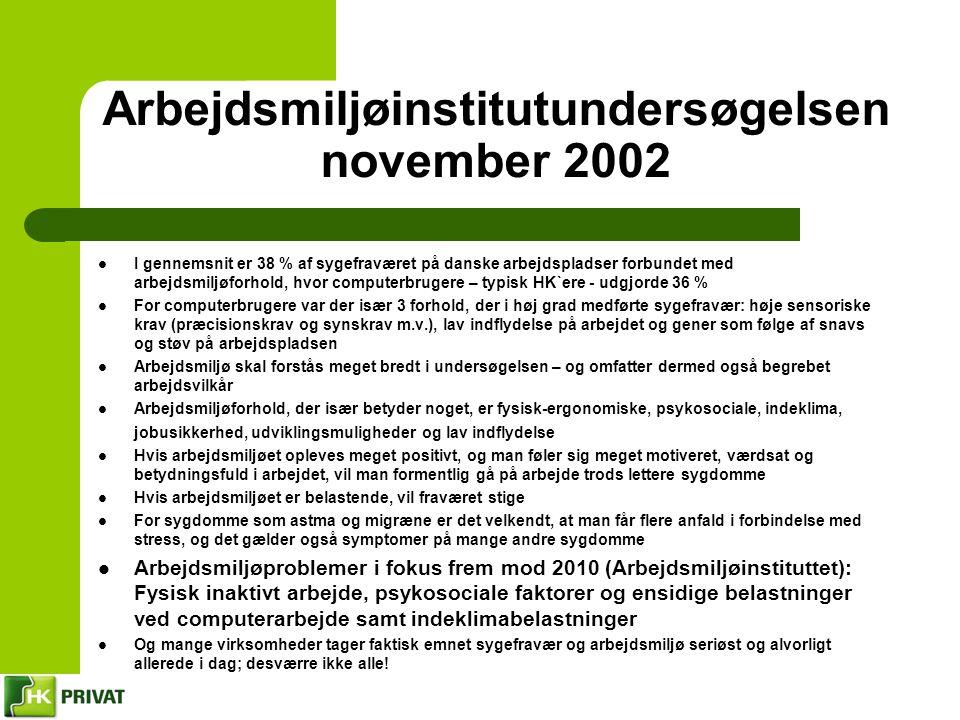 Arbejdsmiljøinstitutundersøgelsen november 2002