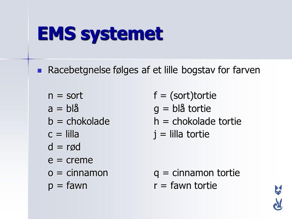 EMS systemet Racebetgnelse følges af et lille bogstav for farven