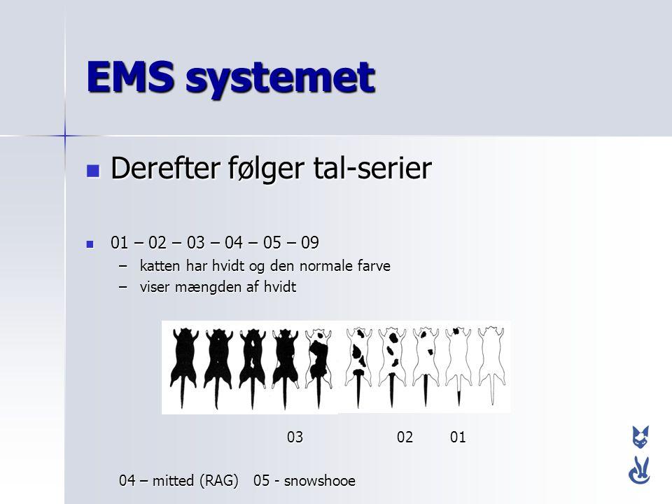 EMS systemet Derefter følger tal-serier 01 – 02 – 03 – 04 – 05 – 09