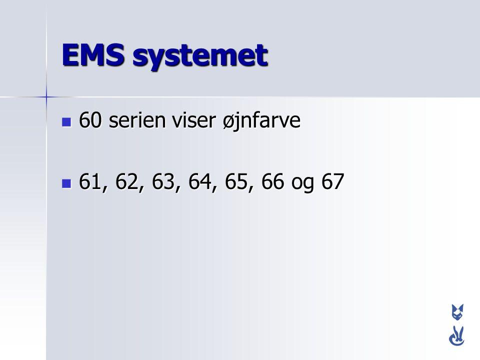 EMS systemet 60 serien viser øjnfarve 61, 62, 63, 64, 65, 66 og 67