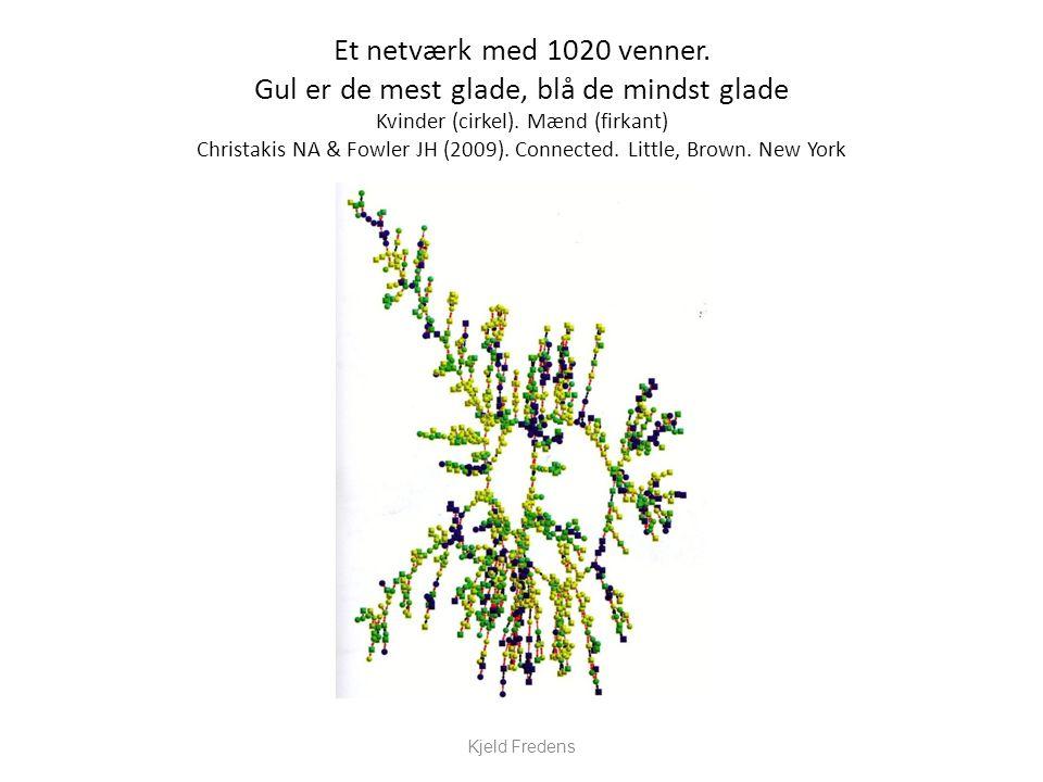 Et netværk med 1020 venner. Gul er de mest glade, blå de mindst glade Kvinder (cirkel). Mænd (firkant) Christakis NA & Fowler JH (2009). Connected. Little, Brown. New York