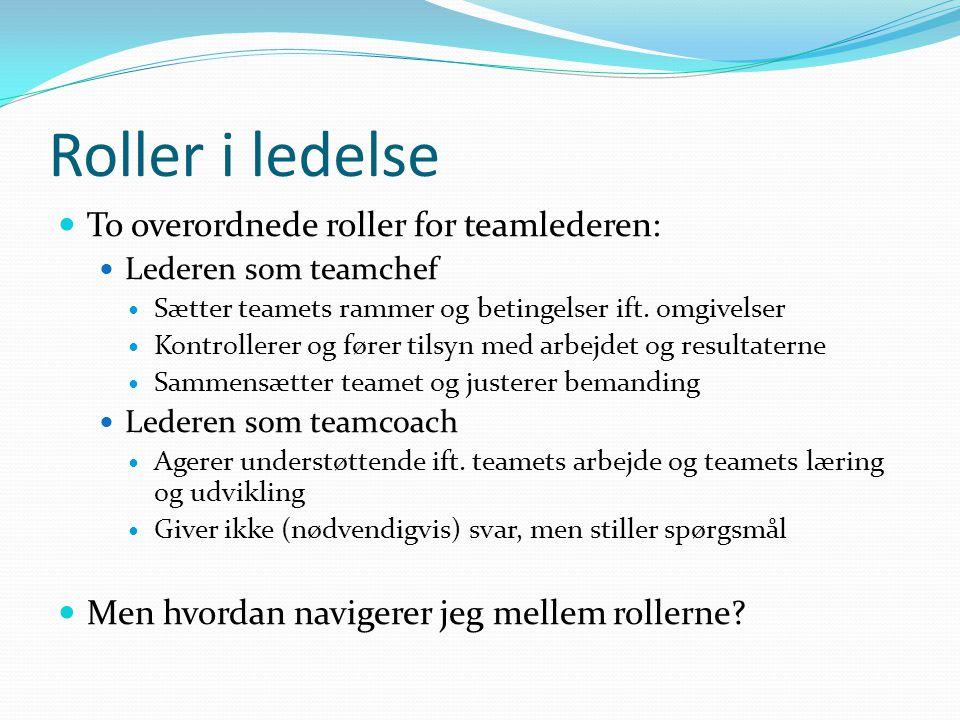 Roller i ledelse To overordnede roller for teamlederen: