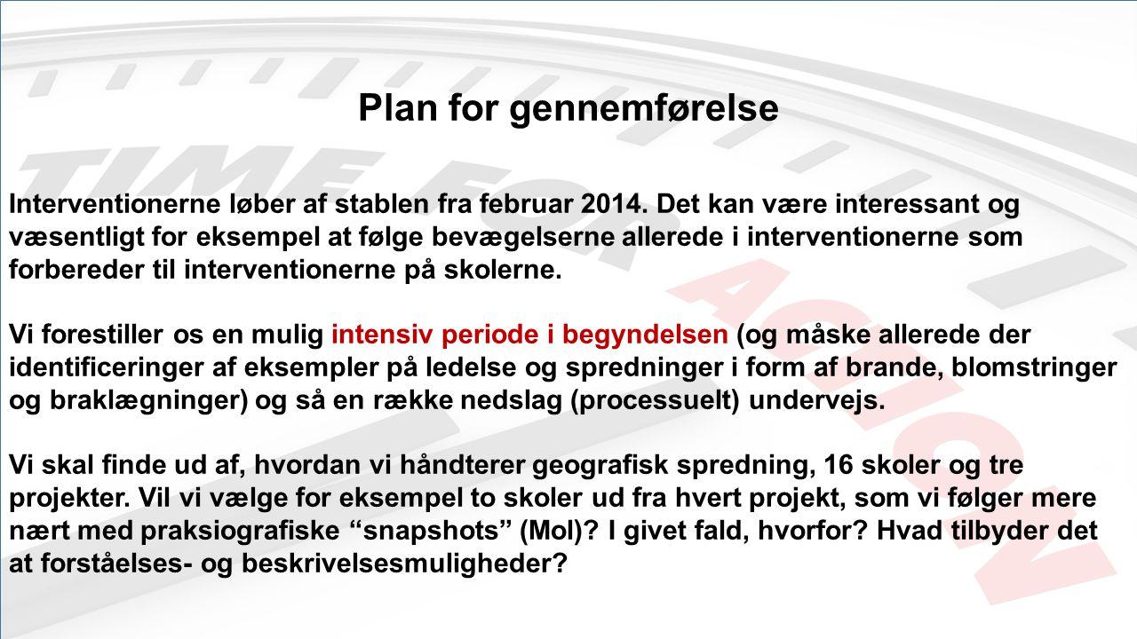 Plan for gennemførelse