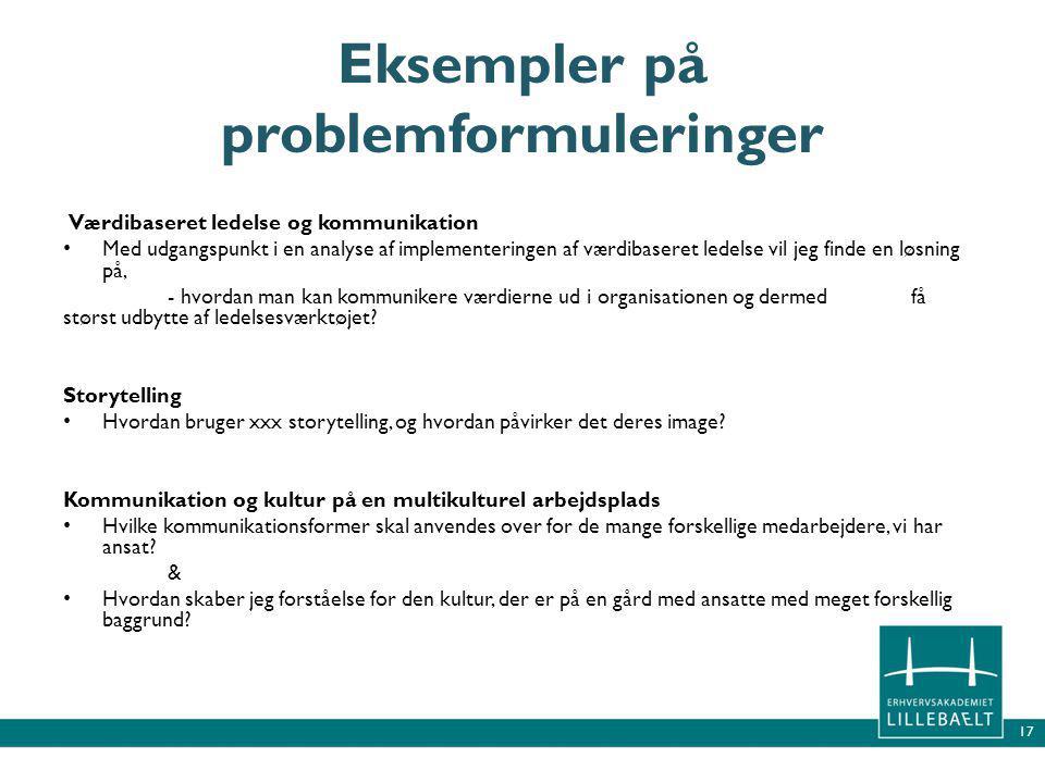 Eksempler på problemformuleringer