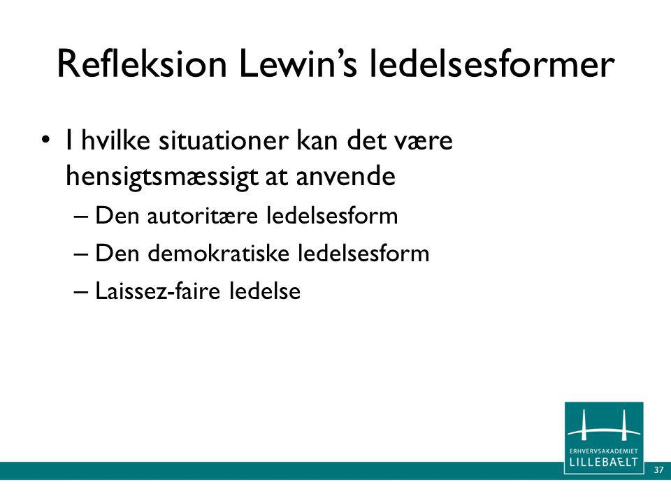 Refleksion Lewin's ledelsesformer