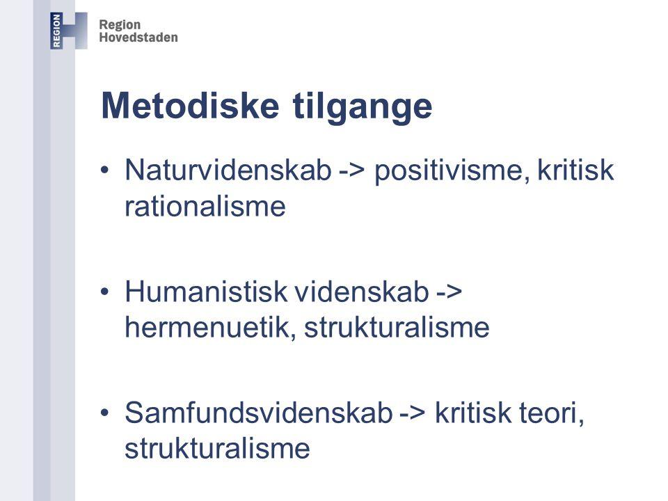Metodiske tilgange Naturvidenskab -> positivisme, kritisk rationalisme. Humanistisk videnskab -> hermenuetik, strukturalisme.