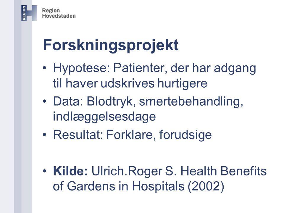 Forskningsprojekt Hypotese: Patienter, der har adgang til haver udskrives hurtigere. Data: Blodtryk, smertebehandling, indlæggelsesdage.