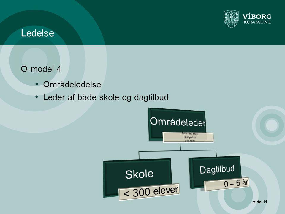 Ledelse O-model 4 Områdeledelse Leder af både skole og dagtilbud
