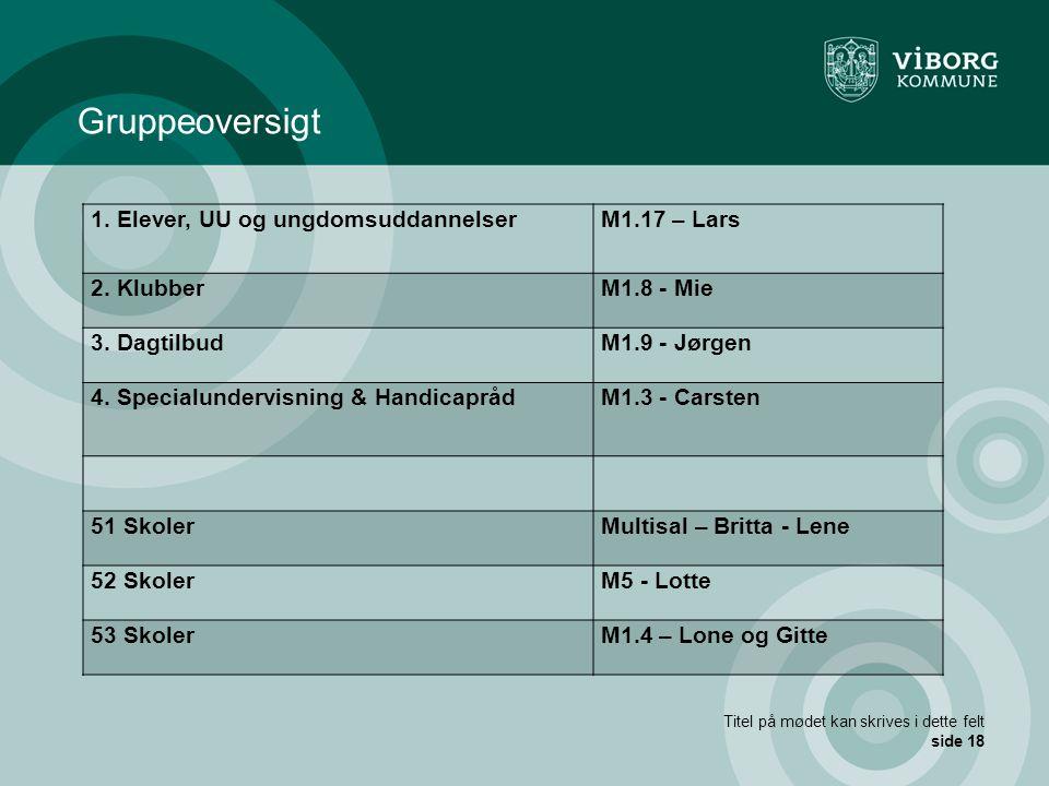Gruppeoversigt 1. Elever, UU og ungdomsuddannelser M1.17 – Lars