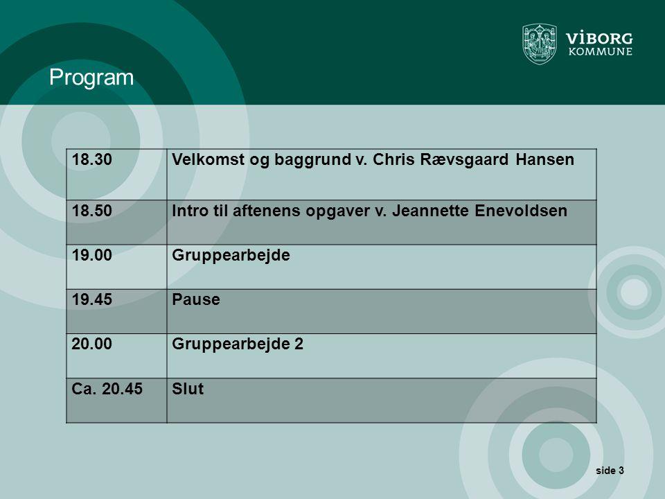 Program 18.30 Velkomst og baggrund v. Chris Rævsgaard Hansen 18.50