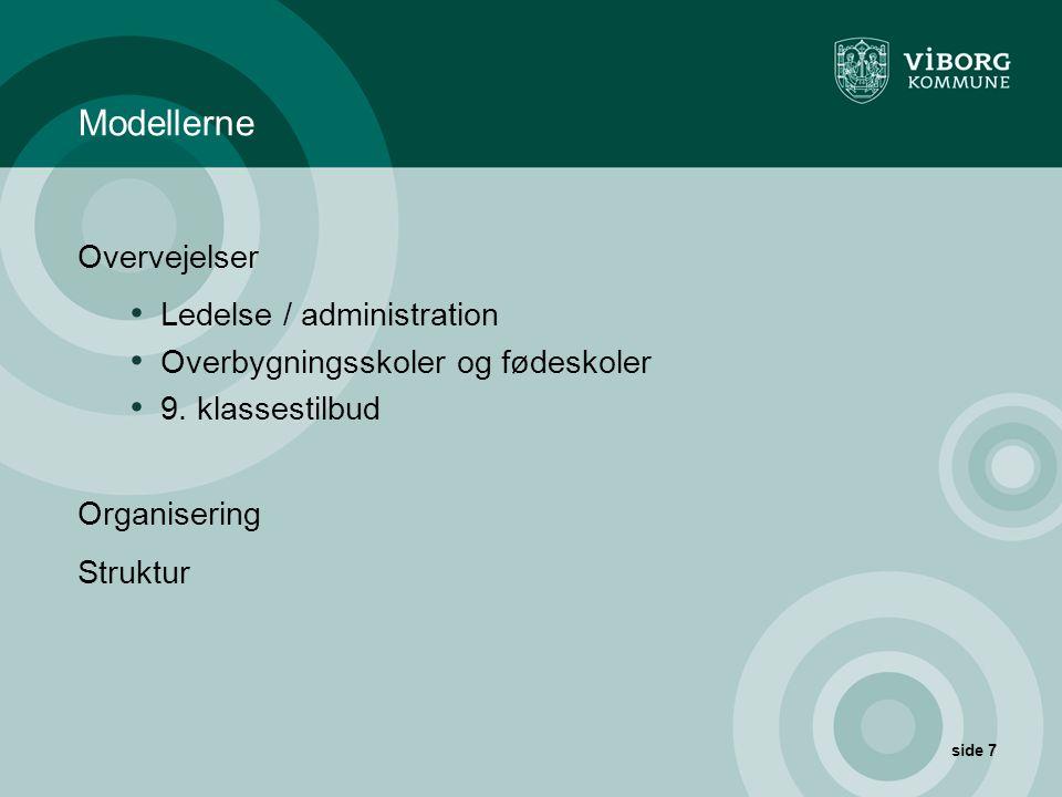 Modellerne Overvejelser Ledelse / administration