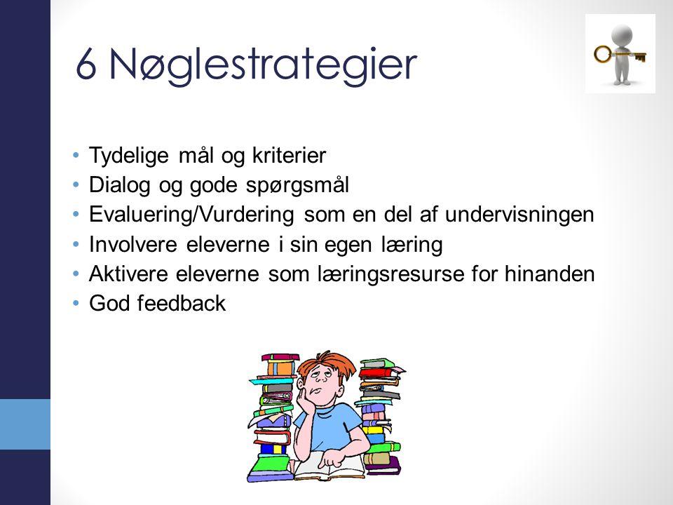 6 Nøglestrategier Tydelige mål og kriterier Dialog og gode spørgsmål