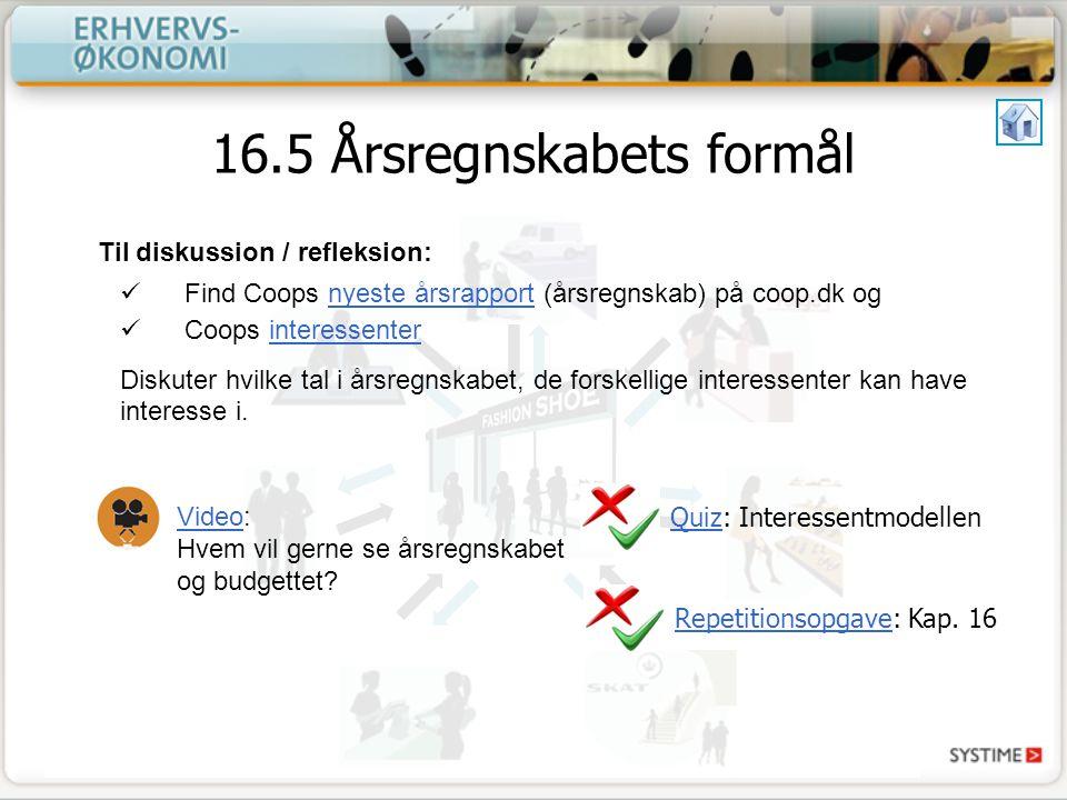 16.5 Årsregnskabets formål