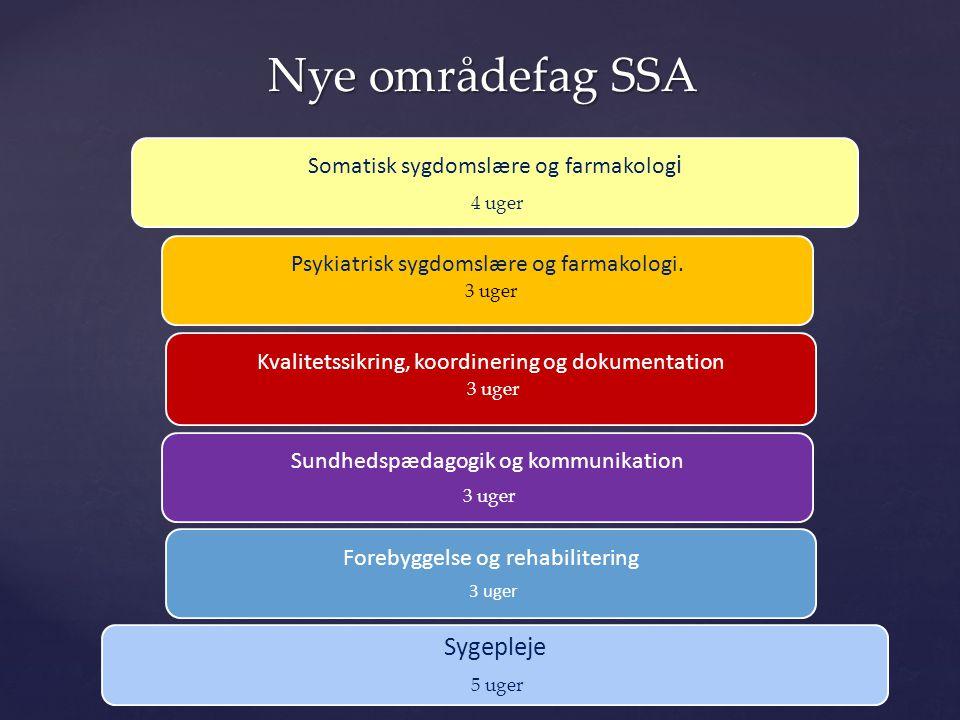 Nye områdefag SSA Sygepleje Somatisk sygdomslære og farmakologi