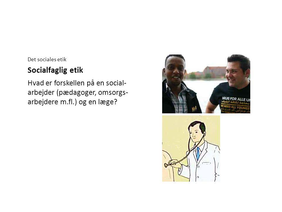 Det sociales etik Socialfaglig etik.
