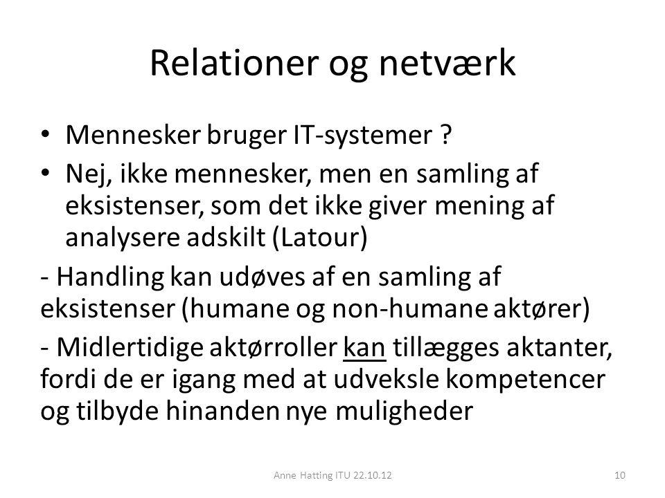 Relationer og netværk Mennesker bruger IT-systemer