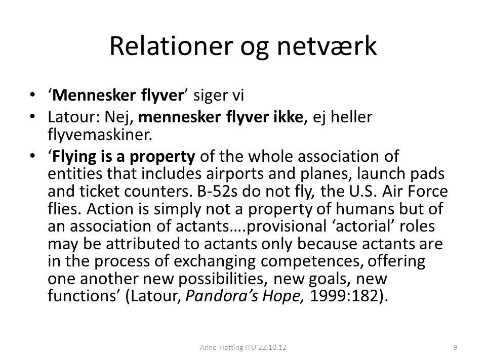 Relationer og netværk 'Mennesker flyver' siger vi